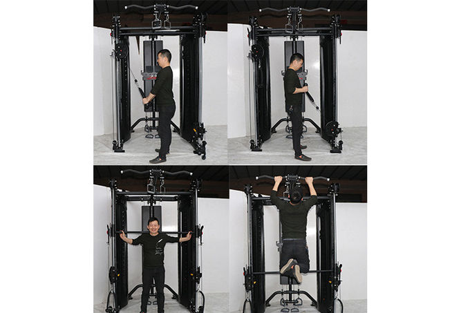 Black Steel Tube Power Rack Equipment Multi Purpose Type For Commercial Gym